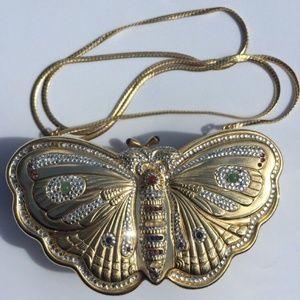 Judith Leiber Bag Butterfly Minaudiere Gold Clutch